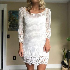 White lace / crotchet dress long sleeve